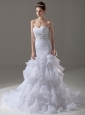 Beading Mermaid Sweetheart Taffeta Garden / Outdoor Court Train Wedding Dress