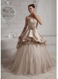 Champagne Hand Made Flowers and Ruch Wedding Dress With Chapel Train
