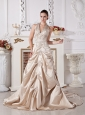 Chgampagne Wedding Dress With Halter Appliques and Satin