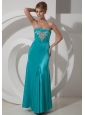 Column / Sheath Beading Prom Dress Ankle-length Elastic Woven Satin Strapless Turquoise