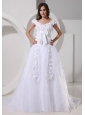Custom Made A-line Appliques Decorate Off The Shoulder 2013 Wedding Dress