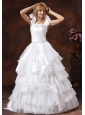 Custom Made Scoop Ball Gown Ruffled Layered 2013 Wedding Dress With Sash Organza