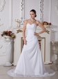 Custom Made Sweetheart Neckline Wedding Dress With Beaded Decorate Chiffon