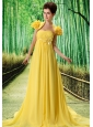 Custom Made Yellow 2013 Prom Dress Hand Made Flower and Ruch