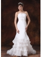 Customize Mermaid Wedding Dress With Strapless Ruffled Layers Decorate