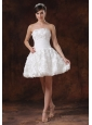 Fabric With Rolling Flower White A-line Short Wedding Dress With Mini-length