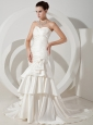 Hand Made Flowers and Ruch Decorate Bodice Mermaid Ruffled Layers Court Train Taffeta 2013 Wedding Dress
