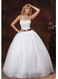 Lace and Beading Decorate Bodice Strapless Floor-length Ball Gown Wedding Dress For 2013