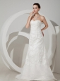 Lace Decorate Bodice Column Organza Sweetheart Neckline Brush Train 2013 Wedding Dress