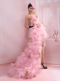 Luxurious Spaghetti Straps Pink High-low Tulle Empire Prom Dress