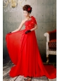 Red One Shoulder Appliques With Beading Prom / Evening Dress With Court Train