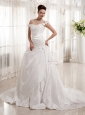 Romantic A-line Off The Shoulder Hand Made Fowers Wedding  Dress With Taffeta