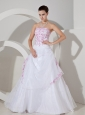 Rose Pink Embroidery With Beading Decorate Bodice A-line Organza Strapless Floor-length Wedding Dress For 2013