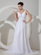 Simple V-neck Beaded Decorate Waist Chiffon Brush Train 2013 Wedding Dress