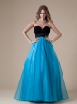 Sweetheart Neckline Beaded Decorate Waist Black and Teal Organza A-line Floor-length 2013 Prom / Evening Dress