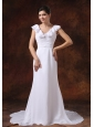 V-neck Ruched Bodice Brush Train Custom Made For Wedding Dress