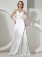 White Straps Wedding Dress With Beaded Decorate