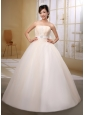 Wholesale Champagne Strapless Beaded Decorate Bust and Belt Wedding Gowns In 2013