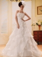 2013 Custom Made Ruffled Layers Hand Made Flowers and Beading Wedding Dress With Chapel Train