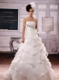 2013 Gorgeous Clasp Handle Ruffled Layers Beaded and Hand Made Flower Wedding Dress With Chapel Train
