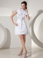 2013 Ruffled High-neck Cap Sleeves Mini-length Wedding Dress