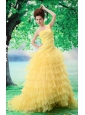 2013 Ruffled Layers One Shoulder Prom Dress With Appliques and Beading Court Train For Custom Made