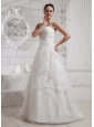 2013 Selkirk Borders Straps Appliques Wedding Dress With Court Train For Custom Made