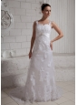 2013 Straps Beaded Lace Wedding Dress With Court Train
