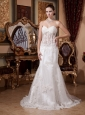 2013 Sweetheart Lace Wedding Dress With Court Train For Custom Made