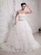 A-line Ruffled Layeres Ruched Bodice Wedding  Dress With Beading Sash