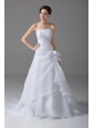 Affordable A-Line Strapless Court Train Organza Wedding Dress Handle-Made Flower