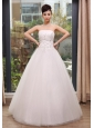 Appliques With Beading  Decorate Bodice Strapless Floor-length Tulle 2013 Wedding Dress