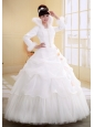 Ball Gown High-neck Neckline Long Sleeves Wedding Dress With Imitated Feather Organza and Tulle