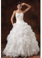 Beaded Decorate Bust Ruffles Spaghetti Straps Floor-length Ball Gown Wedding Dress For 2013