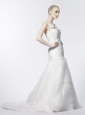 Beaded Decorate Shoulder Ruched Tulle Mermaid / Trumpet Straps Wedding Dress Court Train