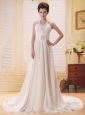 Beaded Decorate V-neck Empire Chiffon Court Train Buttons Stylish Wedding Gowns