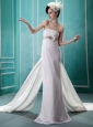 Beaded Watteau Train Wedding Dres For Custom Made
