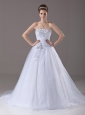 Beading A-Line / Princess Strapless Tulle Garden / Outdoor Wedding Dress Court Train