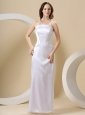 Beading and Strapless Column Satin Floor-length For Wedding Dress