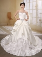 Court Train Satin and Taffeta Ivory Wedding Dress Beaded and Bows Edcorate