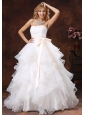 Custom Made Ball Gown Sash 2013 Wedding Dress Strapless With Sash Organza