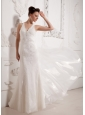 Custom Made Column V-neck Lace Wedding Dress With Organza