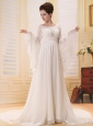 Custom Made For Wedding Dress With Scoop Long Sleeves White