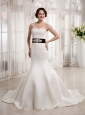 Customize Mermaid Sweetheart Appliques Wedding  Dress With Belt