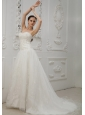 Embroidery Decorate Bodice Sweetheart Neckline Court Train Organza and Taffeta 2013 Wedding Dress