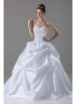 Handle-Made Flower and Beading Taffeta Sweetheart A-Line / Princess Court Train Wedding Dress