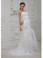 Lace and Bowknot Decorate Bodice Spaghetti  Straps Mermaid Court Train 2013 Wedding Dress