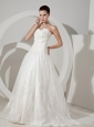 Lace Decorate Bodice Sweetheart Neckline Court Train Organza 2013 Wedding Dress