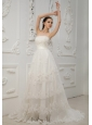 Lace With Beading Decorate Bodice Strapless Brush Train 2013 Wedding Dress For Beautiful Style