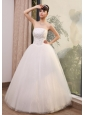 Lace With Beading Decorate Up Bodice Strapless A-line Floor-length Tulle 2013 Wedding Dress